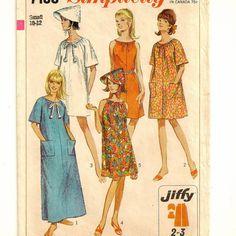 A Drawstring Neck or Elbow-Length Sleeve, Long or Short Dress or Caftan & Hat Pattern, Vintage 1967