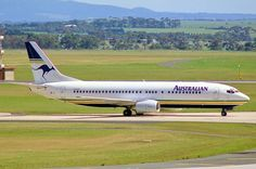 Australian Airlines Boeing 737-476 (VH-TAH) Commercial Plane, Commercial Aircraft, Melbourne Tullamarine, Australian Airlines, Helicopter Plane, Airline Logo, Boeing Aircraft, Aircraft Pictures, Vintage Airline