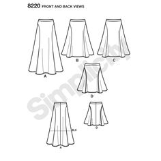 """Misses' Easy-to-Sew flared skirt sized 6-14 with curved seams is a classic addition to your wardrobe. Skirt pattern has cutting lines for three lengths: 18"""", 24"""" and 33"""" from the waist. Use a single fabric or contrasting fabrics or add optional top stitching as shown in view D. Designs by Karen Z for Simplicity sewing patterns."""