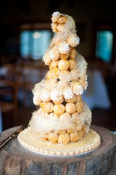 Yummy croquembouche wedding cake with spun sugar from gumnutpatisserie.com.au tealilyphotography.com