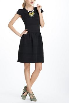 love this!  Though the dropped waist may be an issue. The fabric too. defintely need to see this one in person...  Pintucked Ponte Dress #anthropologie