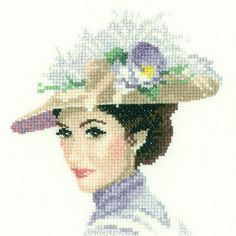 0 point de croix portrait femme chapeau fleurs blanches - cross stitch portrait lady with hat and white flowers Cross Stitch Angels, Cross Stitch Kits, Counted Cross Stitch Patterns, Cross Stitch Embroidery, John Clayton, Heritage Crafts, Miniature Portraits, Vintage Cross Stitches, Cross Stitching