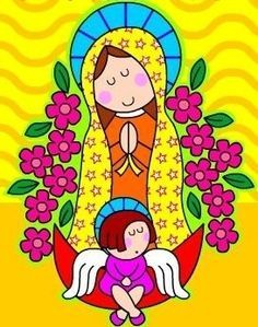 Resultado de imagem para mother mary art lesson for kids Jesus Drawings, Art Lessons For Kids, Mary And Jesus, Holy Mary, Blessed Mother, Cartoon Kids, Drawing For Kids, Religious Art, Marie