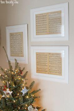 Clever idea!  Framed vintage Christmas sheet music.