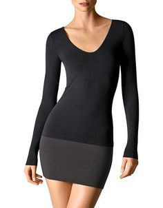 Wolford Slim-Fit V-Neck Tee Women's Black Small