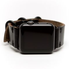 E3 Horween Leather Watch Band for Apple Watch: Black Chromexcel