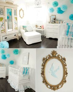 This will be my daughters nursery. But with a vintage alice and wonderland theme. So imagine bright pink green orange and purple along with the blue puffs from the ceiling