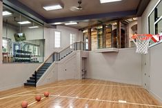 Basement Gym Home Gym Design Ideas, Pictures, Remodel & Decor Home Basketball Court, Basketball Room, Sports Court, Basketball Couples, Indoor Basketball Hoop, Basketball Workouts, Basketball Gifts, Basketball Legends, Home Gym Design