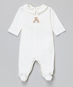 Loving this Victoria Kids Layette Off-White & Blue Dot Milk Bear Collar Pima Footie - Infant on #zulily! #zulilyfinds