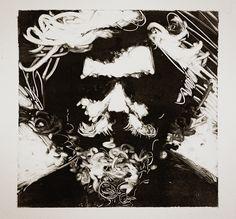 Monotype Self Portrait by Thomas Shahan