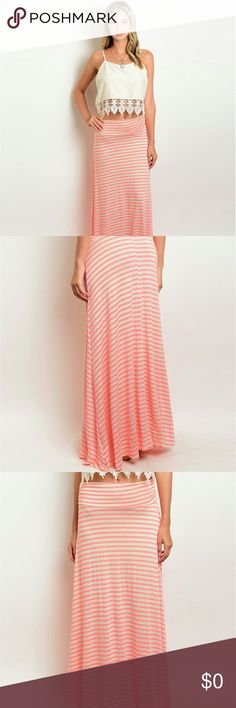 Neon Pink Tan Skirt Jersey knit maxi skirt with stripe print all over  No brand  Skirts Maxi