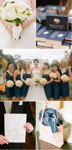 Pretty wedding & colors. I love navy and blush!