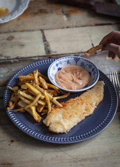 Poisson+pané+au+coconut,+frites+de+légumes+&+mayo+épicée