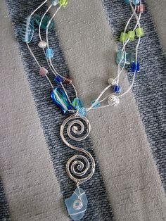 sea glass wire wrapped necklace beaded project