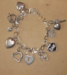 Sterling Vintage  Heart Charm Bracelet