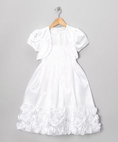 Take a look at this White Rose Dress & Shrug - Girls on zulily today!
