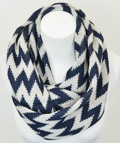 Leto Collection Navy & White Zigzag Infinity Scarf by Leto Collection #zulily #zulilyfinds