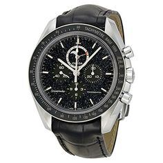 Stainless steel case with a black leather strap. Fixed stainless steel with tachymeter bezel. Black (star field) dial with silver-tone hands and index hour markers. Minute markers around the outer rim. Dial Type: Analog. Luminescent hands and markers. Chronograph – sub-dials displaying: three – 60 second, 30 minute and 12 hour. date sub-dial at the …