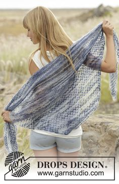 "Adorable #crochet DROPS #shawl with love knots in ""Kid-Silk"" Free Pattern"