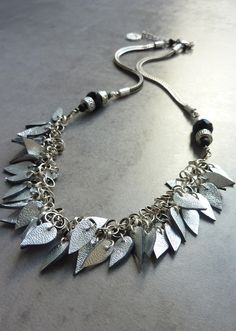 Collier cuir LEAVES argent