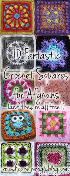 10 Fantastic New Crochet Squares! Making a blanket will be so fun with these! <a href=http://www.mooglyblog.com/crochet-squares-for-afghans/>Not supported by mobile. Click to view original post</a>