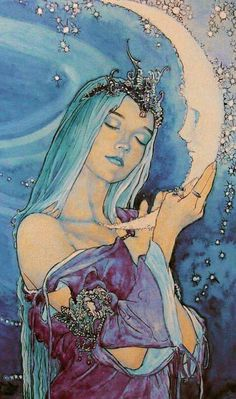 Psychedelic Art, Illustration Manga, Goddess Art, Moon Goddess, Fairytale Art, Moon Art, Aesthetic Art, Art Inspo, Amazing Art
