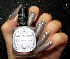 Today I have another Bling manicure to show you, this time with Crazy Polish Lady - Coco Ava. Hello Ladies, Rhinestone Nails, Nailart, Manicure, Indie, Nail Polish, Chanel, Bling, Lady