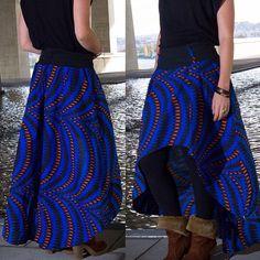 Jupe Wax longue et asymétrique Azur Wax bleu