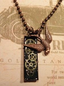 steampunk jewelry DIY. WARNING: I checked the link, and this does NOT lead to a website or blog that offers DIY's for steampunk jewelry. Though, if you'd like to buy some, this girl looks like she makes some pretty cool stuff.