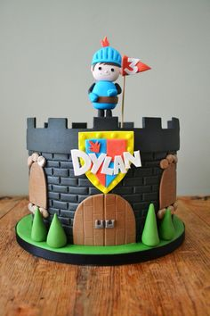 """A """"Mike the Knight"""" castle themed novelty cake. Mike saves the day!"""
