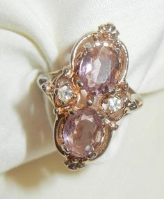Vintage Lovely Victorian Style reproduction Amethyst rhinestone high raised Ring…