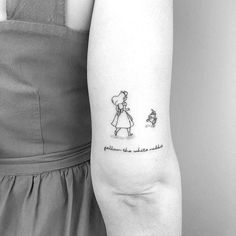 Top tattoo designs for women inspiration for men 68 Ideas Top Tattoos, Line Tattoos, Body Art Tattoos, Small Tattoos, Sleeve Tattoos, Small Disney Tattoos, Tatoos, White Rabbit Tattoo, Rabbit Tattoos