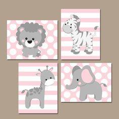 Baby Girl Nursery Wall Art Pink Gray Nursery Artwork door TRMdesign
