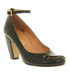 Office FOXY BLACK LEATHER Shoes - Womens Mid Heels Shoes - Office Shoes