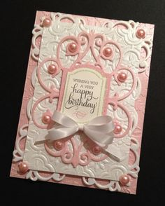 Shabby-Sweet Pink Birthday Card with Floral Anna Griffin Papers