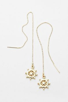Nautical Threader Earrings in Gold on Emma Stine Limited