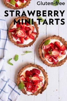 Dreamy and creamy Gluten-Free Strawberry Tarts are made with a Greek yogurt filling, gluten-free crust, and no refined sugar. Indulge in this sweet treat for breakfast or dessert! #glutenfreebaking #strawberryrecipe #breakfast #tart #pastry