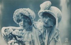Etsy Two Art Deco Girls Tinted In Blue Vintage by PostcardMuse