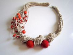 Orange Tagua Nut  And Wood Beads Organic Linen by ArteTeer on Etsy, $20.00: