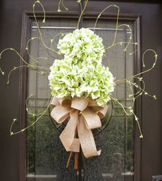 Hydrangea Floral Arrangement Green Hydrangea Wreath by LuxeWreaths