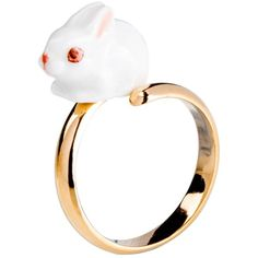White Bunny Adjustable Ring ($94) ❤ liked on Polyvore featuring jewelry, rings, nach, accessories, adjustable rings, hand crafted jewelry, bunny rabbit jewelry, bunny ring and handcrafted jewellery