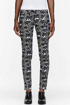 Black and Gold Temple Eye Print Jeans - Lyst