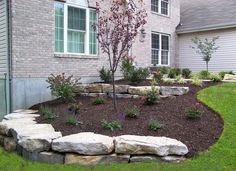 Awesome Small Front Yard Landscaping Design Ideas On A Budget 38 Landscaping With Boulders, Landscaping A Slope, Small Front Yard Landscaping, Landscaping Retaining Walls, Landscaping Ideas, Mailbox Landscaping, Landscaping With Large Rocks, Flagstone Patio, Sloped Front Yard