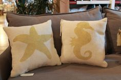 Burlap Pillow  Seahorse Burlap Pillow  Beach by TwoPeachesDesign, $27.00 | Etsy