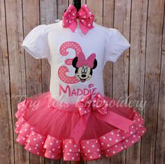 Minnie Mouse Birthday Outfit  Minnie Tutu by TinyTotsEmbroidery