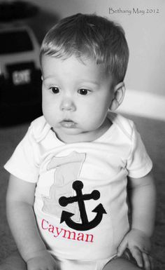 Nautical Anchor Birthday Personalized Baby by naptimecreation,