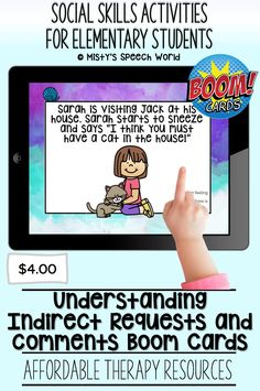 $4.00 · If you're looking for Boom cards for speech therapy to target social skills kids, these cards are just what you are looking for. This is a NO prep speech therapy activity: Buy now and you are ready to go! Find this and many more therapy resources for kids at Misty's Speech World! Buy now: to purchase this deck, click on this pin and purchase to add this therapy resource to your speech therapy toolkit! Social Skills For Kids, Social Skills Activities, Speech Therapy Activities, Activities For Kids, Problem Solving Activities, Reading Task Cards, Learning Cards, Interactive Cards, Special Education Teacher