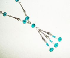 Teal Blue Green Crystal Beads SAUTOIR FLAPPER NECKLACE Art Deco Silver Plated  #KMEART