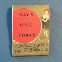 This is a vintage lipstick aka lip rouge container that is designed like a match book. It's made for Hay's Drug Stores of Portland, Maine. The design was patented by Fracy of New York. The condition is good. There is some wear on the paper cover. Please see photos to examine.