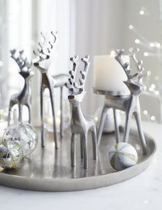 Shop Crate and Barrel to find everything you need to outfit your home. Browse furniture, home decor, cookware, dinnerware, wedding registry and more. Silver Christmas Decorations, Christmas Tablescapes, Christmas Centerpieces, Blue Christmas, Christmas Home, Christmas Crafts, Tree Decorations, Theme Noel, Home Decor
